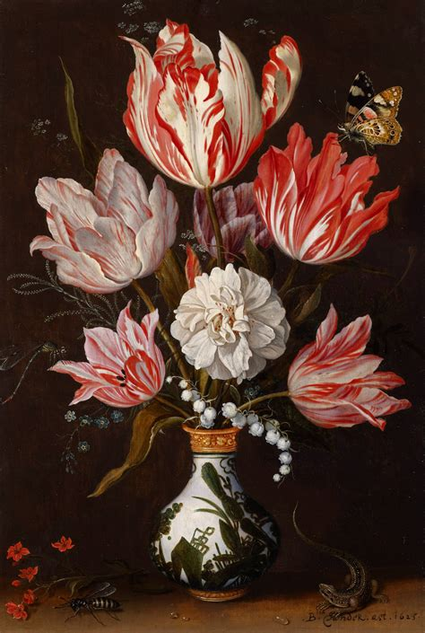 A Still Life of Tulips and other Flowers in a ceramic Vase