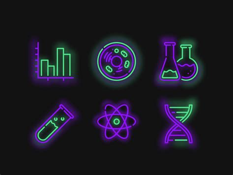 6 Neon Science Icons Sketch freebie - Download free