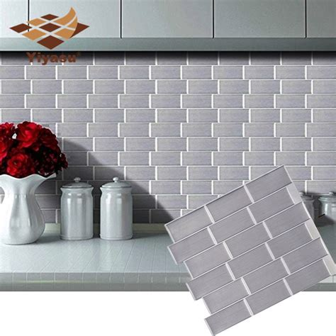 Subway Silver Tile Self Adhesive Peel and stick Wall Decal