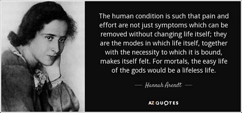 Hannah Arendt quote: The human condition is such that pain